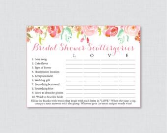 Pink Floral Bridal Shower Scattergories Game - Printable Pink and Gold Flower Scattergories Game - Pink Garden Bridal Shower Game 0004