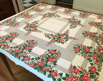 Vintage tablecloth, red and green floral, poinsettias or daisies