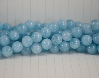 Aquamarine Beads --- Round --- 12mm --- 32 beads --- Full Strand --- Hole 0.5~1mm --- A quality