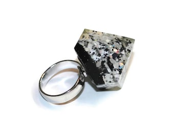 Chunky Glitter Rings Black and White Spike Diamond Ring Big Resin Blingy Ring Cute Pastel Goth Grunge Jewelry