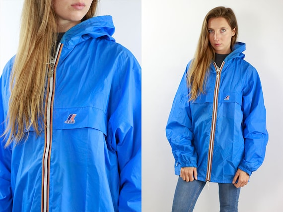 K-Way Jacket Blue Rain Jacket Vintage Jacket Kway Jacket Kway Windbreaker Kway Jacket Women Kway Vintage Raincoat Vintage Raincoat Kway Coat