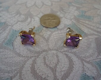 Vintage Gold Over Sterling Silver Purple CZ 10mm Square Stud Earrings, Minimalist Jewelry, 3 Grams