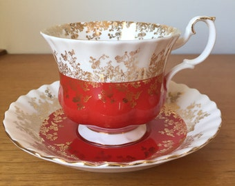"""Royal Albert """"Regal Series"""" Red Teacup and Saucer, Gold Floral Tea Cup and Saucer, Vintage Bone China"""