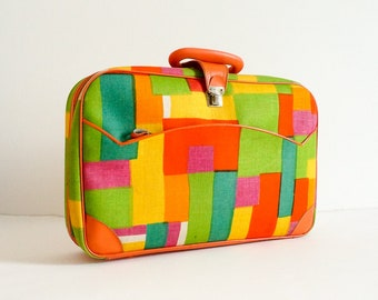 "Vintage 1960s Luggage, K Gimbel NY Mod Colorblock Soft Suitcase with Lock Key Japan VGC 16x11x5"" Perfect Kid Size Overnight Case"