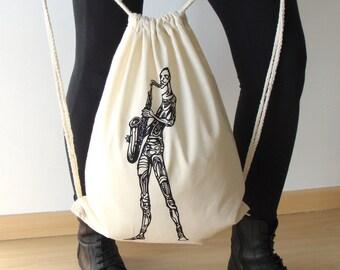 Cotton sack bag, Canvas backpack, Saxofone sack bag, Screen printing sack bag, Sack bag, Shopping sack bag, Saxophonist sack bag,