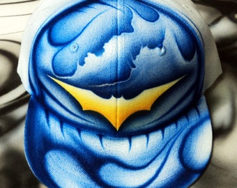Airbrushed Batman Snapback Hat Hand Painted airbrush
