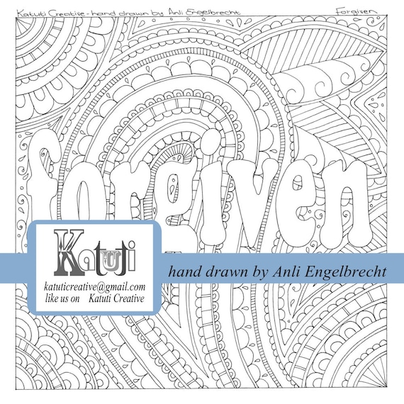 Coloring pages for adults Faith Word Forgiven instant download