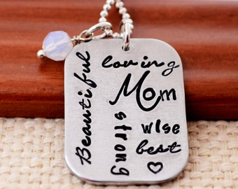 Personalized Necklace for Mom, Mother's Day Necklace, Word Cloud Hand Stamped Necklace, Custom Neckace, Mom, Mommy, Mother, Birthstone