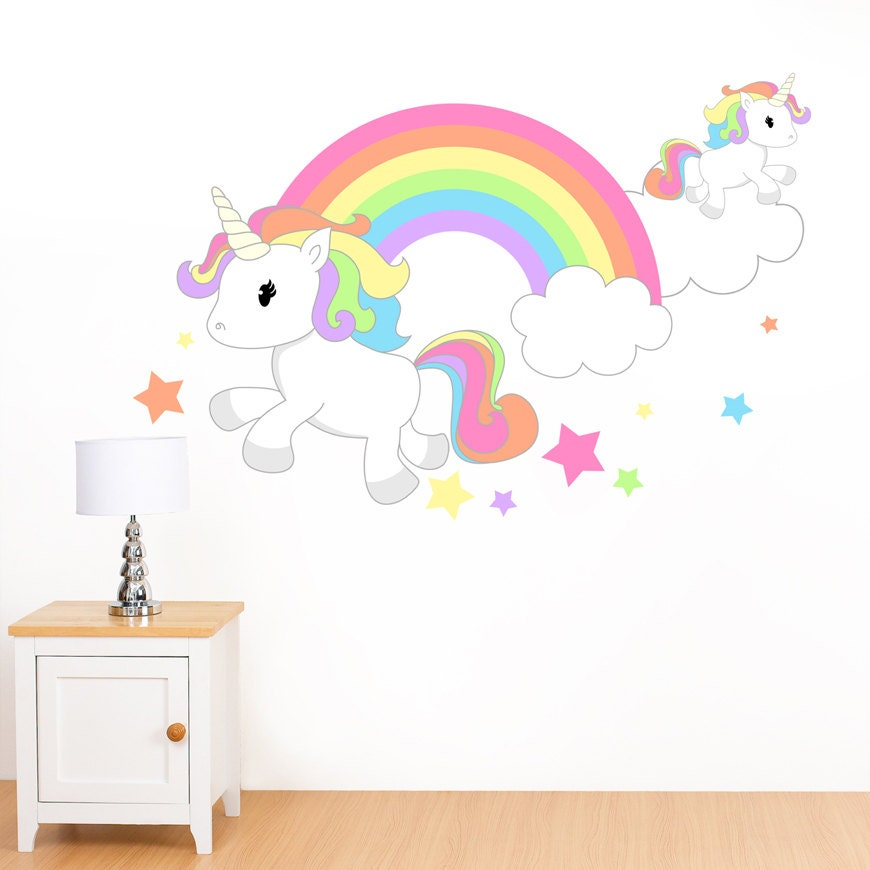 Rainbow unicorn stars mural wall sticker girl 39 s for Cuarto de unicornio