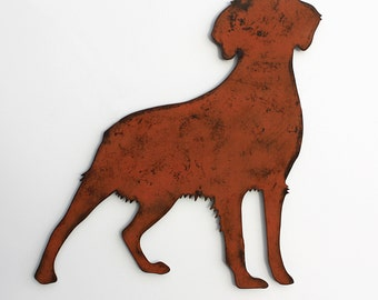 """Brittany Spaniel wall art - 24"""" wide metal dog silhouette profile painted rusted steel"""