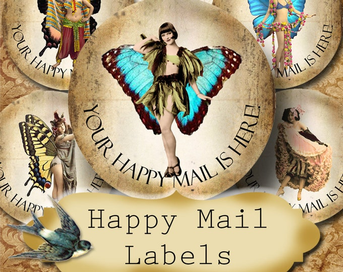 Happy Mail •60 Custom 1.5 x 1.5 Round STICKERS•Round Labels•Tags•Package Labels•Custom Stickers•Custom Labels•Packaging•FLY GIRLS