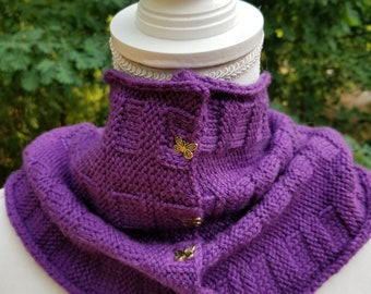 Hand knit cowl featured for remembrance of lupus.