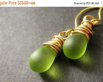 MOTHERS DAY SALE Teardrop Earrings: Wire Wrapped Drop Earrings. Frosted Green Earrings in Gold. Handmade Jewelry.