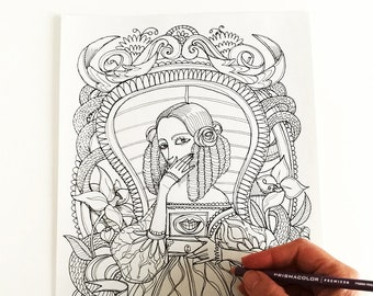 Berenice - Edgar Allan Poe - Coloring page -Instant download - Printable illustration
