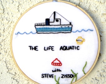The Life Aquatic - Embroidery Hoop Wall Art