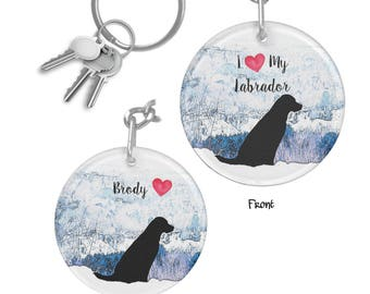Black Lab Keychain - Black Lab Art MNT6 - Labrador Keychain - Black Lab Gifts - Personalized Keychain - Black Labrador Memorial Keychain
