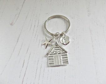 Silver beach hut key ring, Beach hut key chain, Beach hut pendant, Silver pebble charm, Silver starfish charm, Beach hut charm, Made in UK