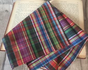 Madras Style Cotton Pocket Square, Colourful Checked Pocket Handkerchief , Multi Coloured Pocket Square