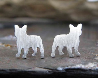 Frenchie post earrings. French bull dog silhouette jewelry. Sterling silver, 14k gold filled or solid yellow gold studs. Dog lover. Bulldog.