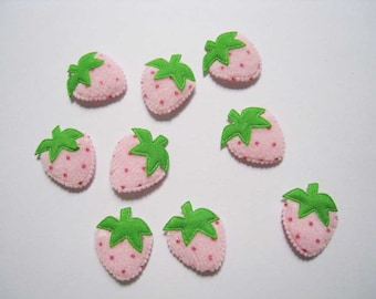 30 pcs of Pastel Pink Strawberry Applique