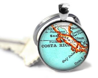 Costa Rica Mens keychain, Costa Rica keychains, travel keychain, dad gift, keychains for men, anniversary gift, man gift idea, A161