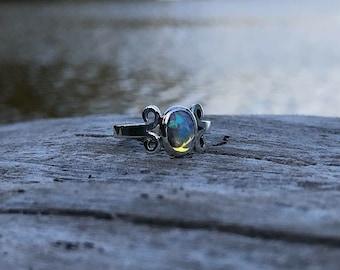 Petite Crystal Opal Ring