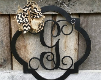 Initial Door Hanger - Distressed  Personalized Door Hanger - Monogram Wreath - Personalized Door Decor