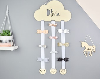 The BIG one - JoJo Bow - Hair Bow Hanger  - Hair Bow - Hair Bow Holder - Personalised - Hair Clips - Cloud - Hair Accessory Storage -