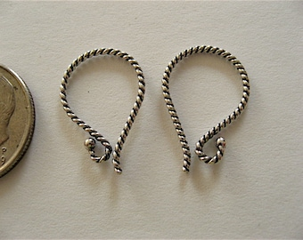3 Pair Bali Sterling Silver Twisted Rope 1 Dot Earwires 18mm