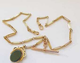 """Antique Art Deco Solid 9ct Gold Double Watch Albert Chain or Necklace 19"""" Long 33g Plus Spinner"""