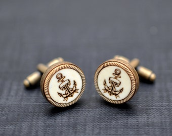 Sailor anchor Cufflinks - Vintage style acrylic cuff links