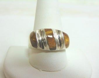 Mens Vintage Estate Sterling Silver Ring w/ Cats Eye 16.4g E878