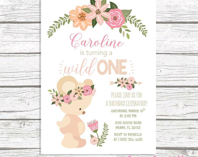 Wild One Birthday Invitation, Boho Birthday Invitation, Girl First 1st Birthday Invite, Teddy Bear Birthday Invitation, Tribal Arrow Invite