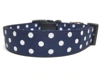 Navy Blue White Polka Dot Dog Collar Adjustable