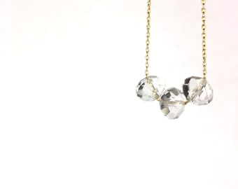 Faceted Crystal Glass Bead Trio Gold Charm Necklace Gift Idea SATC