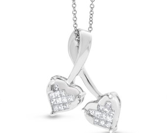 0.25 Ct. Genuine Diamond Double Heart Princess Cut Pendant In Solid 14k White Gold