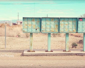 Mail boxes Salton Sea photograph bombay teal bright neat deserted desert