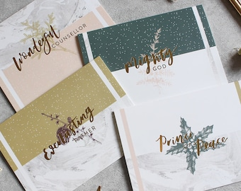 Isaiah 9:6 Gold foil Christmas card multi pack with marble background