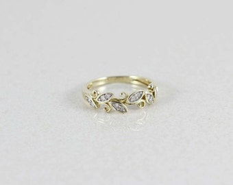 10k Yellow Gold Diamond Ring Size 7 Grecian Style Leaf Band Ring Stackable