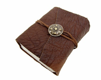 Leather book Terra roman shield gold Buffalo Leather - diary, journal, notebook or travel diary