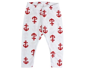 Red and White Anchor Baby Leggings Toddler Leggings Boy Leggings Girl or Boy Baby Pants Toddler Pants Nautical Anchor Leggings CHOOSE SIZE