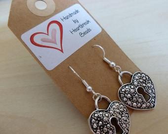 heart padlock earrings