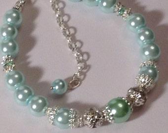 Aqua and Peridot Pearl Bridesmaid Bracelet