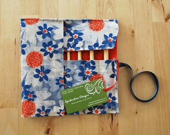 Crochet Hook Case / Organizer / Holder - Blue Daisies with Red Sprinkle Lining