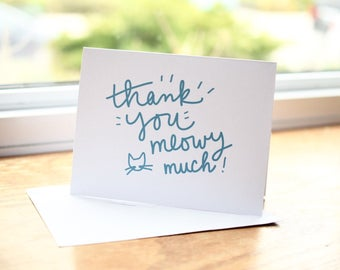 Thank You Card Cat Card Cat Lover Card Meow Card