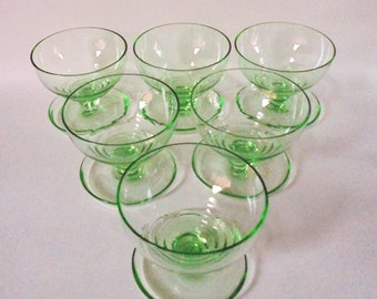 Uranium Glass Champagne Coupes / Sundae Dishes ~ set of 6 ~ Art Deco  c.1930's