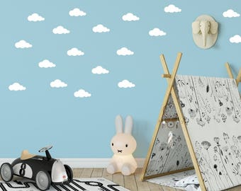 Puffy Cloud Wall Decal - Clouds Decal - Cloud Sticker - Kid Wall Decoration - Baby Room Decal - Nursery Wall Decal - Vinyl Stickers