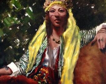 Harem girl original oil painting