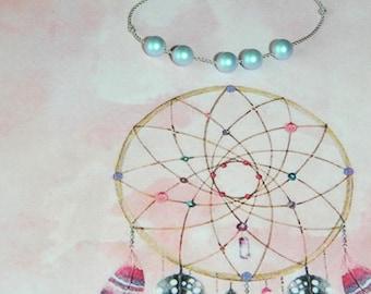 Bracelet adjustable gray nylon thread Iridescent Light Blue Swarovski pearls
