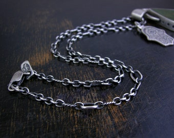 Long and short link chain made to order sterling silver 3mm soldered jump rings and lobster claw antique rustic finish with extender links